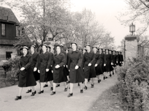 WWII WAVES Marching by Sugarcamp gate house